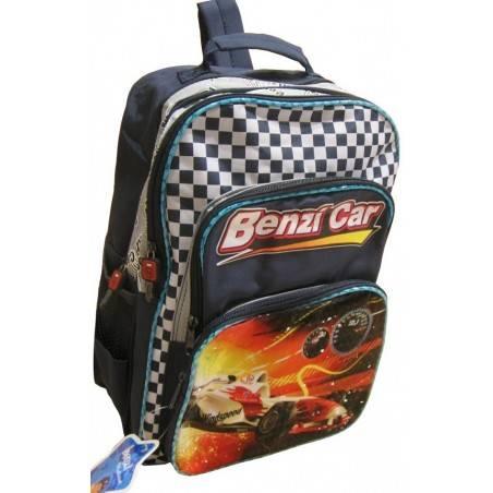 Le sac à dos enfant pas cher avec voiture de course de couleur bleu rouge et blanc A DÉCOUVRIR ! - 1