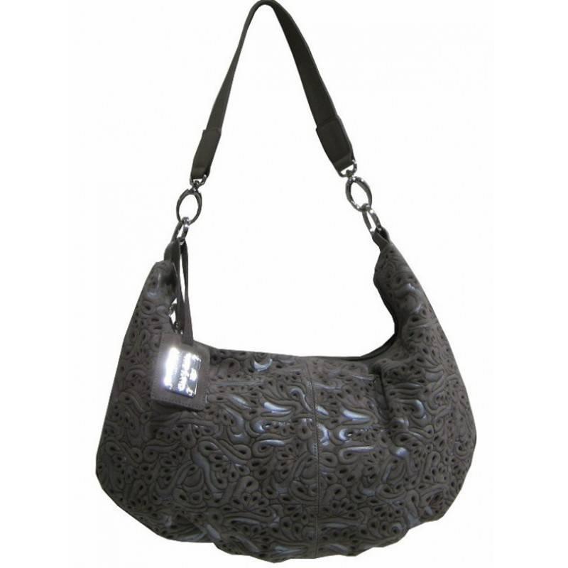 Sac épaule demi lune cuir motif imprimé Patrick Blanc PATRICK BLANC - 1